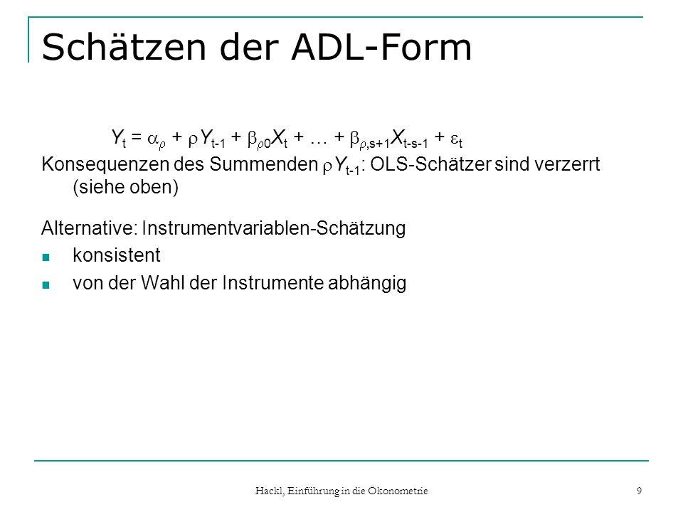 Hackl, Einführung in die Ökonometrie 9 Schätzen der ADL-Form Y t = + Y t-1 + 0 X t + … + s+1 X t-s-1 + t Konsequenzen des Summenden Y t-1 : OLS-Schätzer sind verzerrt (siehe oben) Alternative: Instrumentvariablen-Schätzung konsistent von der Wahl der Instrumente abhängig