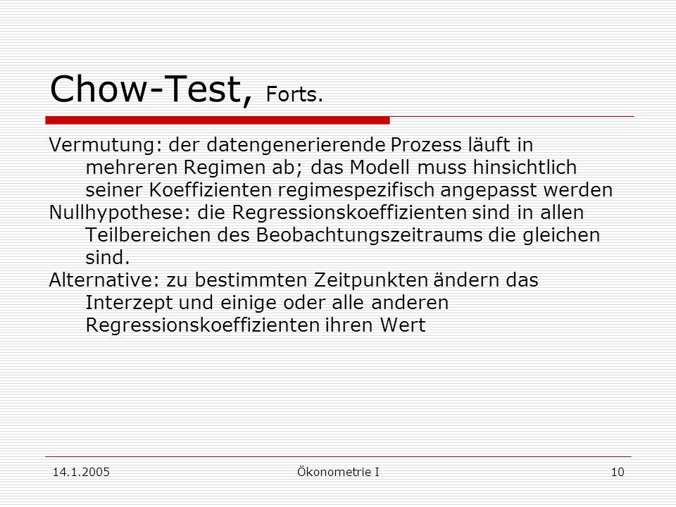 14.1.2005Ökonometrie I10 Chow-Test, Forts.