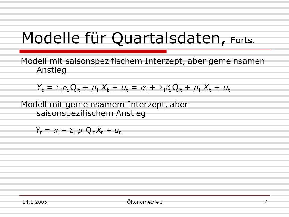 14.1.2005Ökonometrie I7 Modelle für Quartalsdaten, Forts.