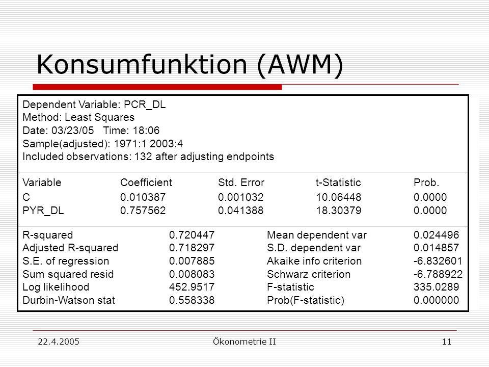 22.4.2005Ökonometrie II11 Konsumfunktion (AWM) Dependent Variable: PCR_DL Method: Least Squares Date: 03/23/05 Time: 18:06 Sample(adjusted): 1971:1 20