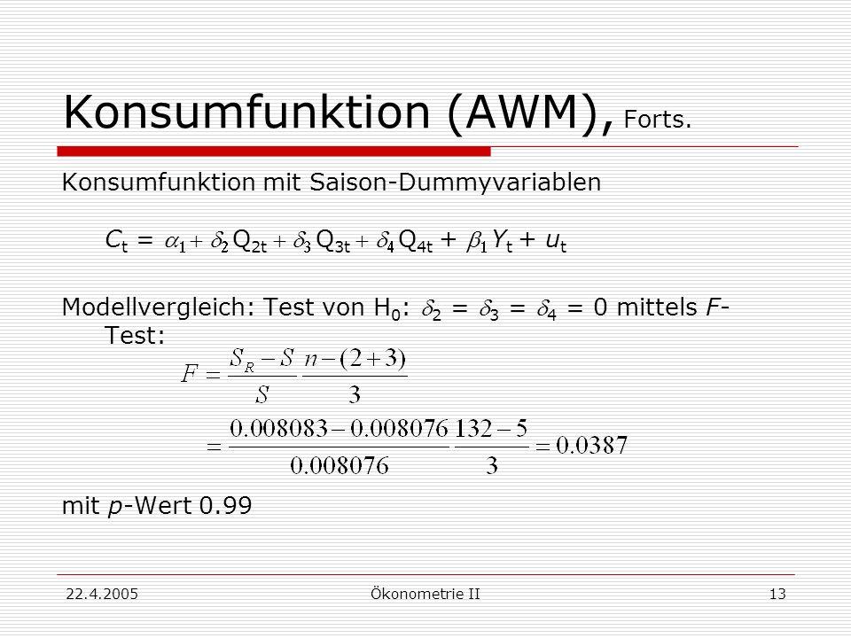 22.4.2005Ökonometrie II13 Konsumfunktion (AWM), Forts. Konsumfunktion mit Saison-Dummyvariablen C t = Q 2t Q 3t Q 4t+ Y t + u t Modellvergleich: Test