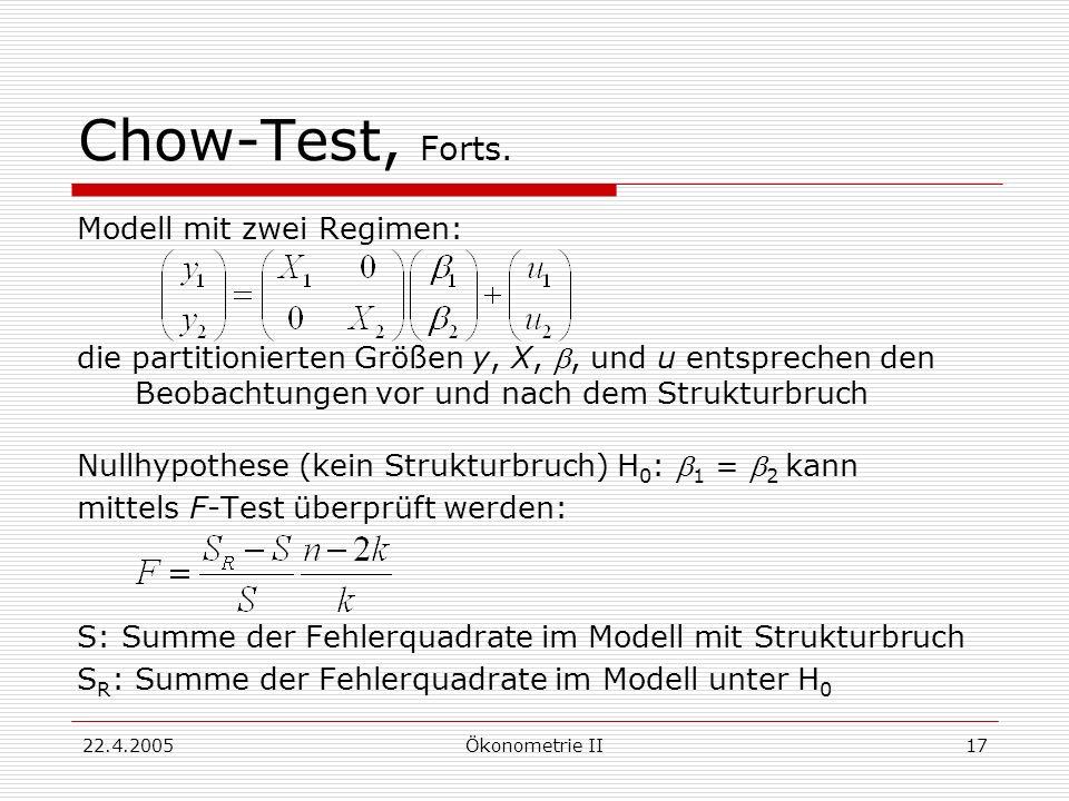 22.4.2005Ökonometrie II17 Chow-Test, Forts. Modell mit zwei Regimen: die partitionierten Größen y, X,, und u entsprechen den Beobachtungen vor und nac