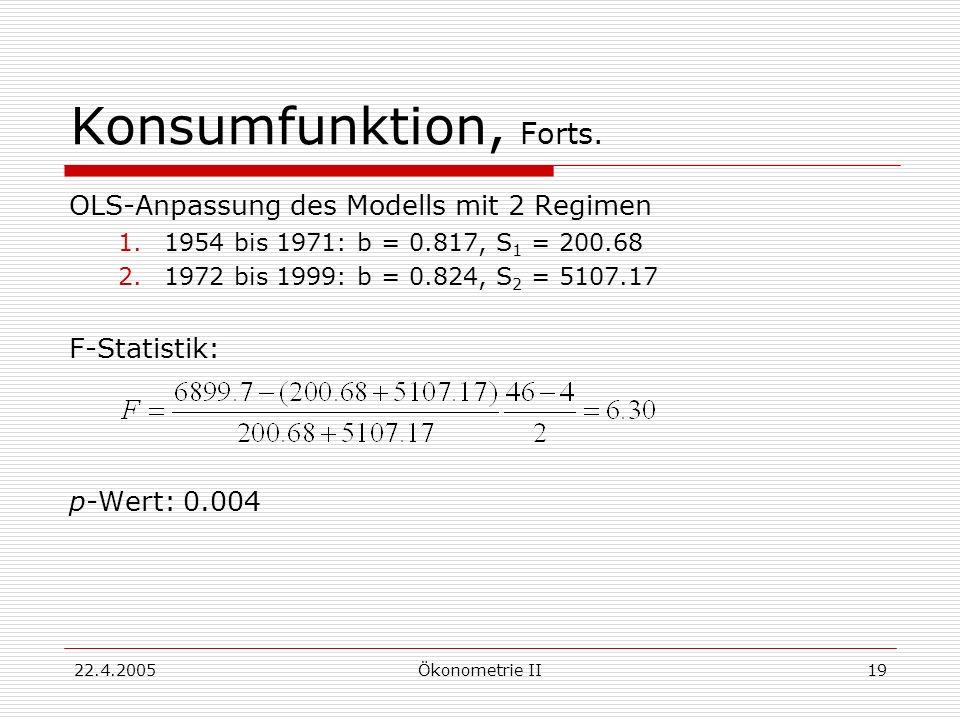 22.4.2005Ökonometrie II19 Konsumfunktion, Forts. OLS-Anpassung des Modells mit 2 Regimen 1.1954 bis 1971: b = 0.817, S 1 = 200.68 2.1972 bis 1999: b =