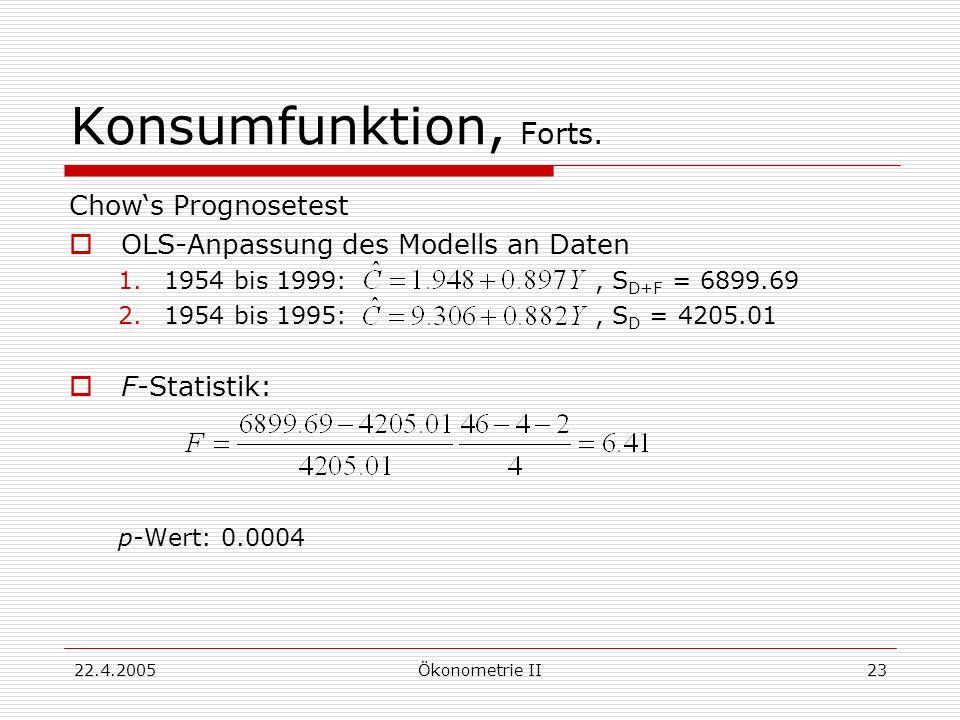 22.4.2005Ökonometrie II23 Konsumfunktion, Forts. Chows Prognosetest OLS-Anpassung des Modells an Daten 1.1954 bis 1999:, S D+F = 6899.69 2.1954 bis 19