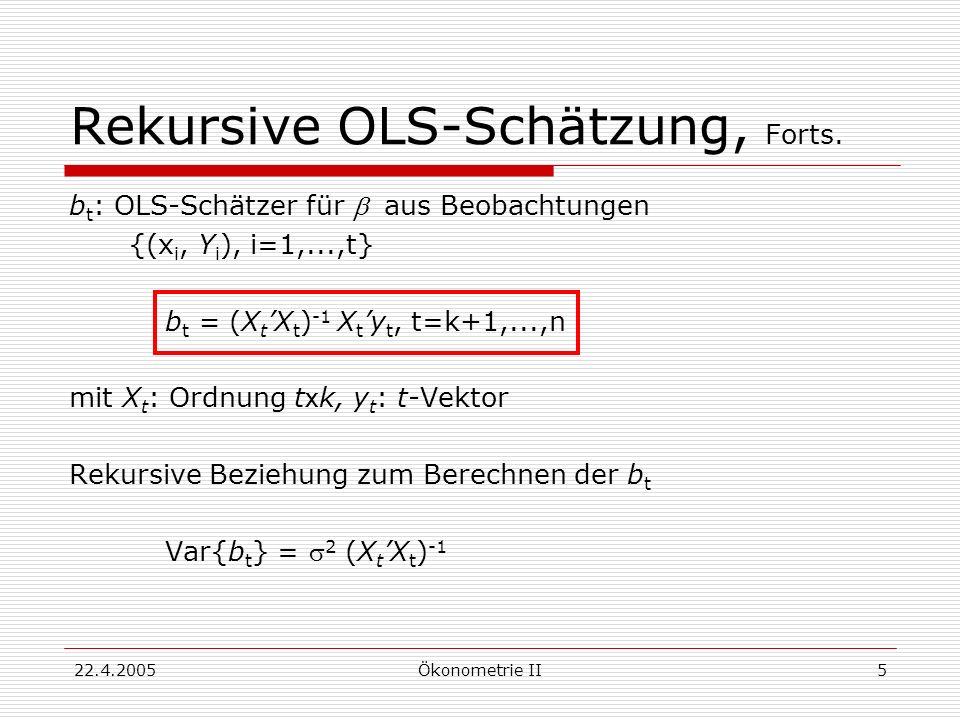 22.4.2005Ökonometrie II5 Rekursive OLS-Schätzung, Forts. b t : OLS-Schätzer für aus Beobachtungen {(x i, Y i ), i=1,...,t} b t = (X t X t ) -1 X t y t