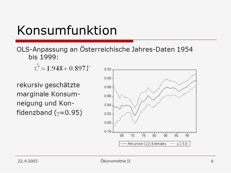 22.4.2005Ökonometrie II7 Dummy-Variable Regressor, der das Zutreffen eines bestimmen Umstandes anzeigt; er hat den Wert 1 in Perioden, in denen der Umstand zutrifft, sonst den Wert 0 Beispiele: Konjunktur/Stagnation Zeit vor/nach Ölpreis-Schock Regionen (Stadt/Land) Saisonen des Jahres