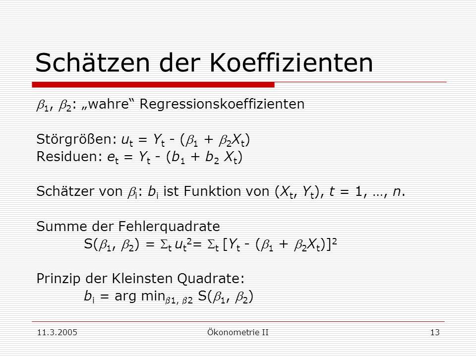 11.3.2005Ökonometrie II13 Schätzen der Koeffizienten 1, 2 : wahre Regressionskoeffizienten Störgrößen: u t = Y t - ( 1 + 2 X t ) Residuen: e t = Y t -