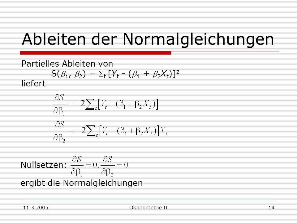 11.3.2005Ökonometrie II14 Ableiten der Normalgleichungen Partielles Ableiten von S( 1, 2 ) = t [Y t - ( 1 + 2 X t )] 2 liefert Nullsetzen: ergibt die