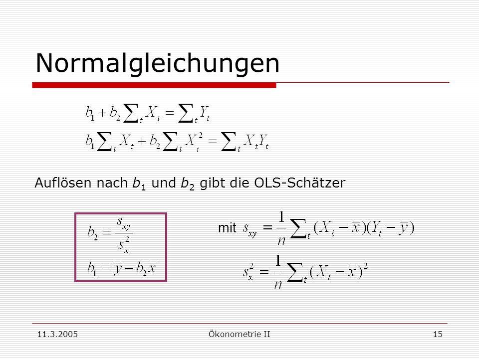11.3.2005Ökonometrie II15 Normalgleichungen Auflösen nach b 1 und b 2 gibt die OLS-Schätzer mit