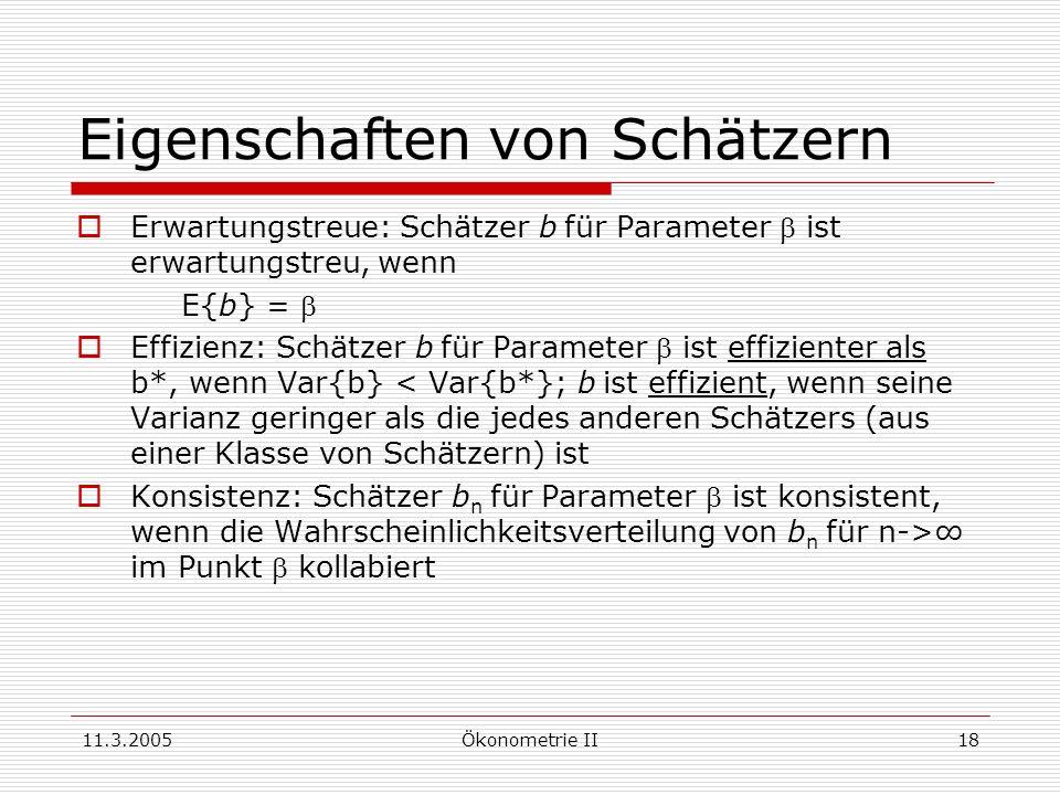 11.3.2005Ökonometrie II18 Eigenschaften von Schätzern Erwartungstreue: Schätzer bfür Parameter ist erwartungstreu, wenn E{b} = Effizienz: Schätzer bfü