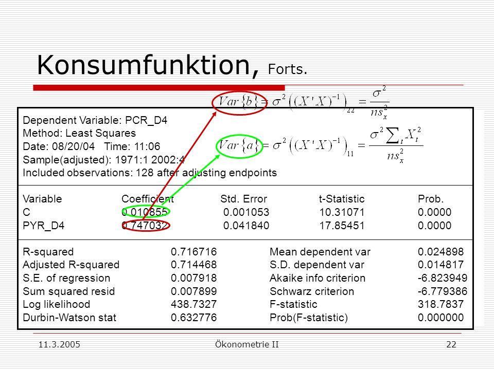 11.3.2005Ökonometrie II22 Konsumfunktion, Forts. Dependent Variable: PCR_D4 Method: Least Squares Date: 08/20/04 Time: 11:06 Sample(adjusted): 1971:1