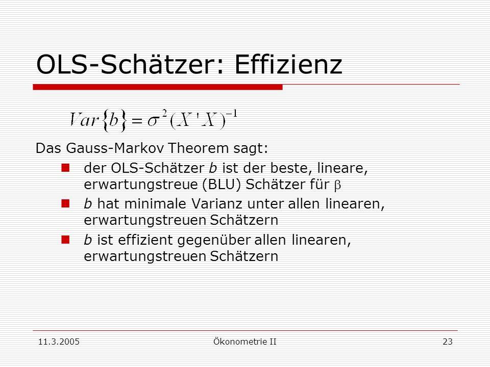 11.3.2005Ökonometrie II23 OLS-Schätzer: Effizienz Das Gauss-Markov Theorem sagt: der OLS-Schätzer b ist der beste, lineare, erwartungstreue (BLU) Schä