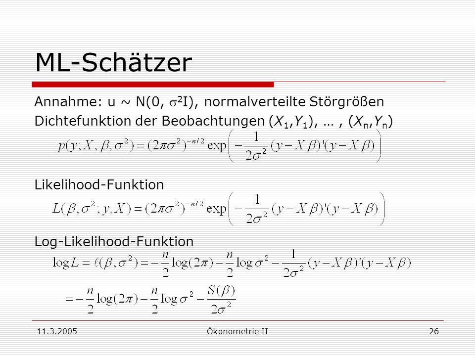 11.3.2005Ökonometrie II26 ML-Schätzer Annahme: u ~ N(0, 2 I), normalverteilte Störgrößen Dichtefunktion der Beobachtungen (X 1,Y 1 ), …, (X n,Y n ) Li