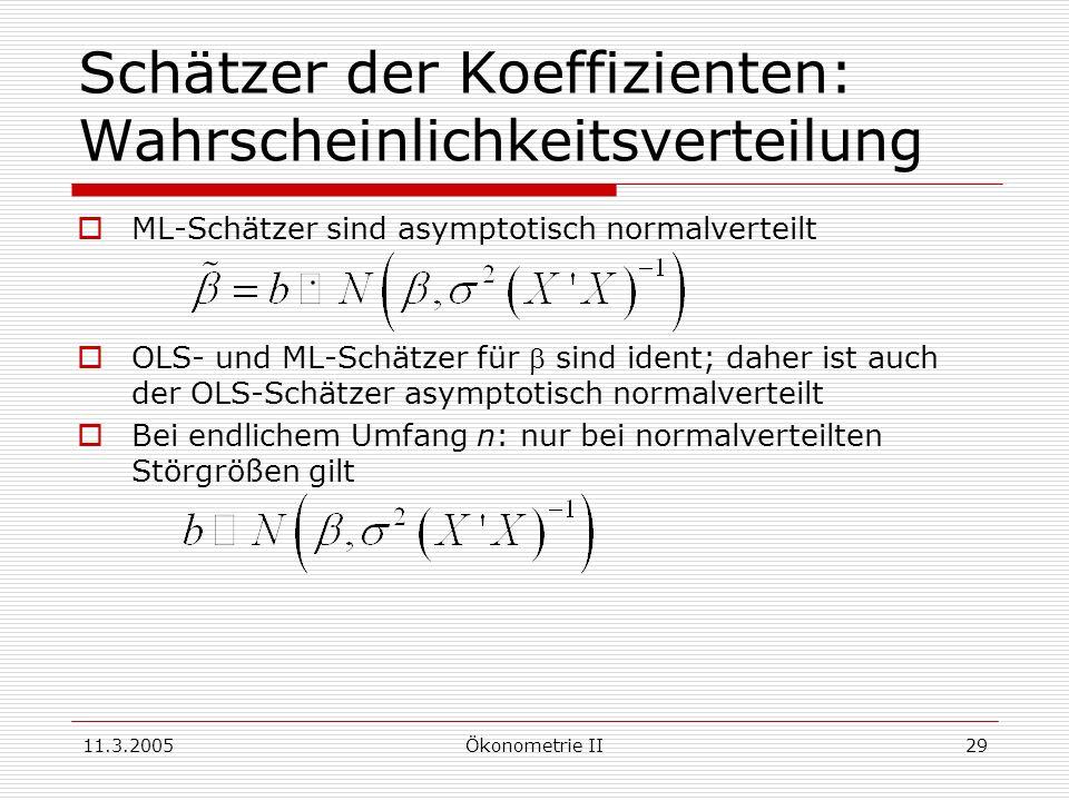 11.3.2005Ökonometrie II29 Schätzer der Koeffizienten: Wahrscheinlichkeitsverteilung ML-Schätzer sind asymptotisch normalverteilt OLS- und ML-Schätzer