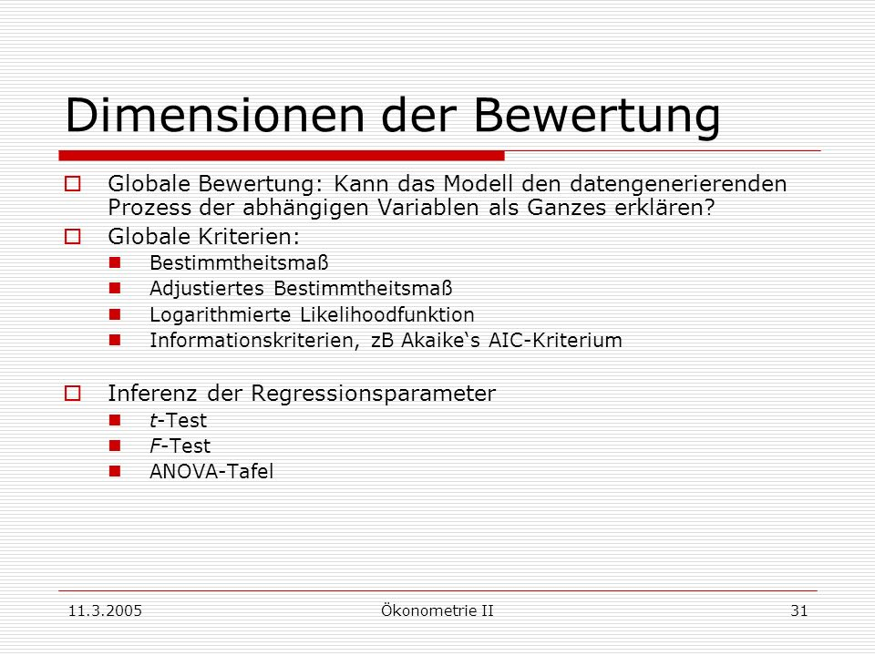 11.3.2005Ökonometrie II31 Dimensionen der Bewertung Globale Bewertung: Kann das Modell den datengenerierenden Prozess der abhängigen Variablen als Gan