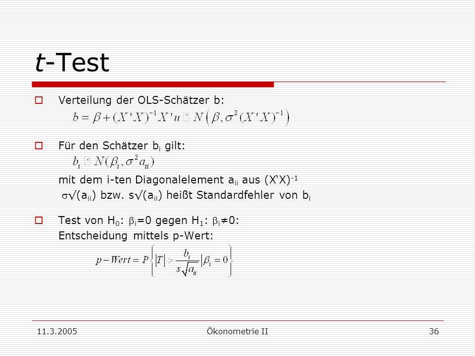 11.3.2005Ökonometrie II36 t-Test Verteilung der OLS-Schätzer b: Für den Schätzer b i gilt: mit dem i-ten Diagonalelement a ii aus (XX) -1 (a ii ) bzw.