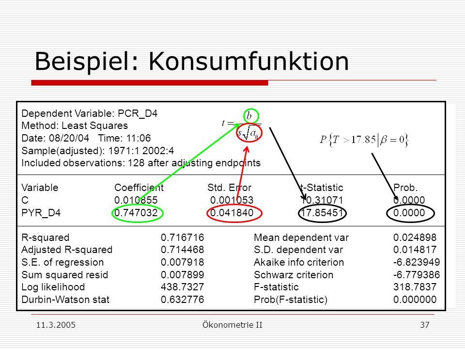 11.3.2005Ökonometrie II37 Beispiel: Konsumfunktion Dependent Variable: PCR_D4 Method: Least Squares Date: 08/20/04 Time: 11:06 Sample(adjusted): 1971: