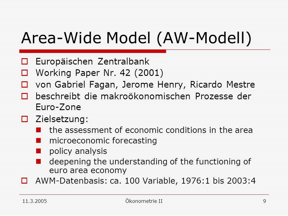 11.3.2005Ökonometrie II9 Area-Wide Model (AW-Modell) Europäischen Zentralbank Working Paper Nr. 42 (2001) von Gabriel Fagan, Jerome Henry, Ricardo Mes