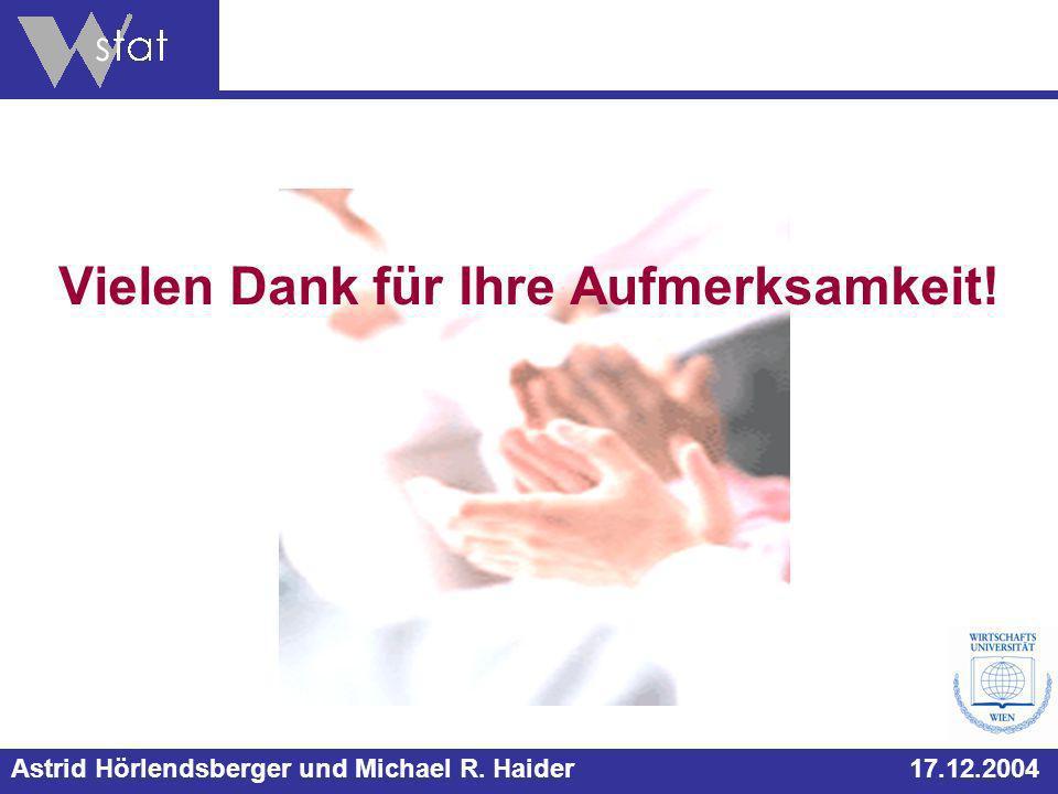 Astrid Hörlendsberger und Michael R. Haider 17.12.2004 Vielen Dank für Ihre Aufmerksamkeit!