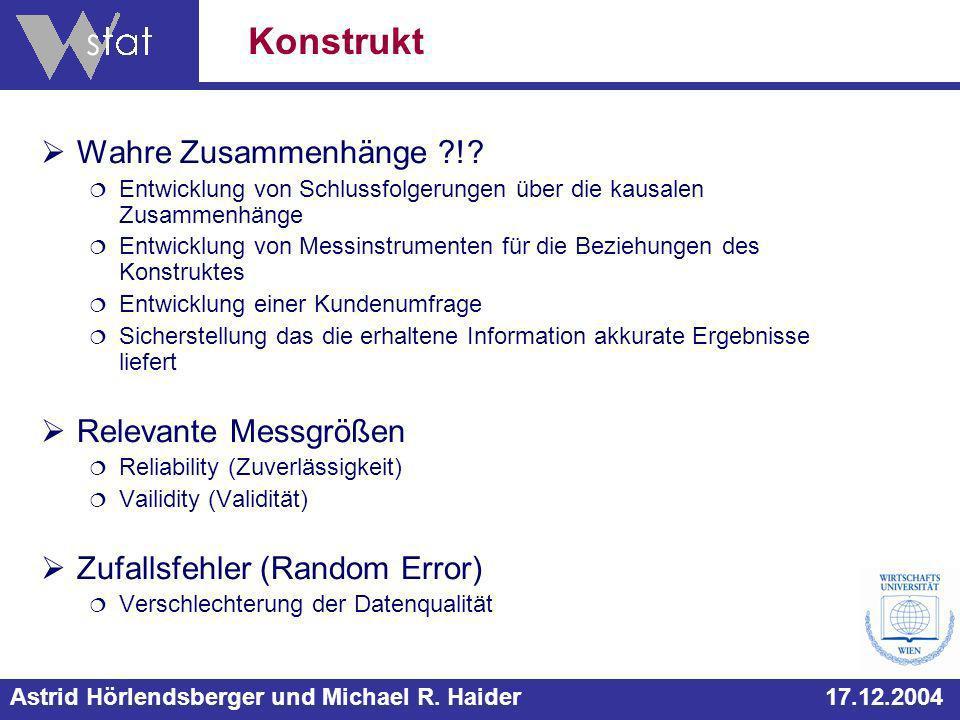 Astrid Hörlendsberger und Michael R. Haider 17.12.2004 Wahre Zusammenhänge ?!.