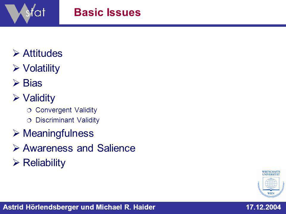 Astrid Hörlendsberger und Michael R. Haider 17.12.2004 Attitudes Volatility Bias Validity Convergent Validity Discriminant Validity Meaningfulness Awa