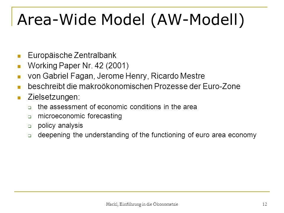 Hackl, Einführung in die Ökonometrie 12 Area-Wide Model (AW-Modell) Europäische Zentralbank Working Paper Nr. 42 (2001) von Gabriel Fagan, Jerome Henr