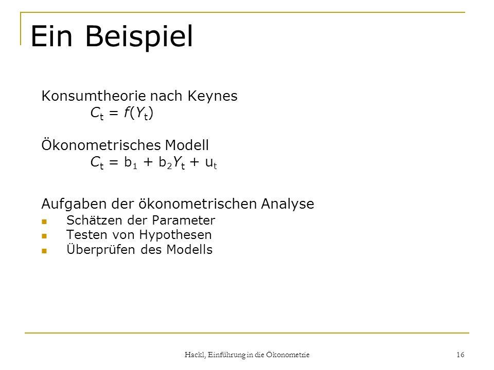 Hackl, Einführung in die Ökonometrie 16 Ein Beispiel Konsumtheorie nach Keynes C t = f(Y t ) Ökonometrisches Modell C t = b 1 + b 2 Y t + u t Aufgaben