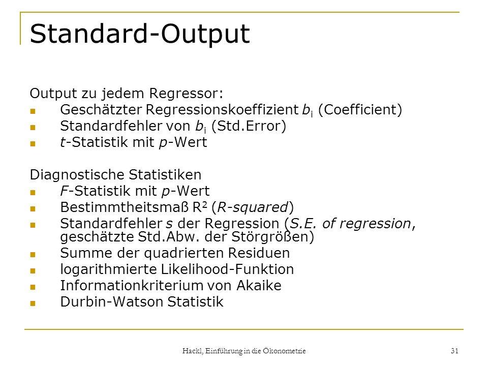Hackl, Einführung in die Ökonometrie 31 Standard-Output Output zu jedem Regressor: Geschätzter Regressionskoeffizient b i (Coefficient) Standardfehler