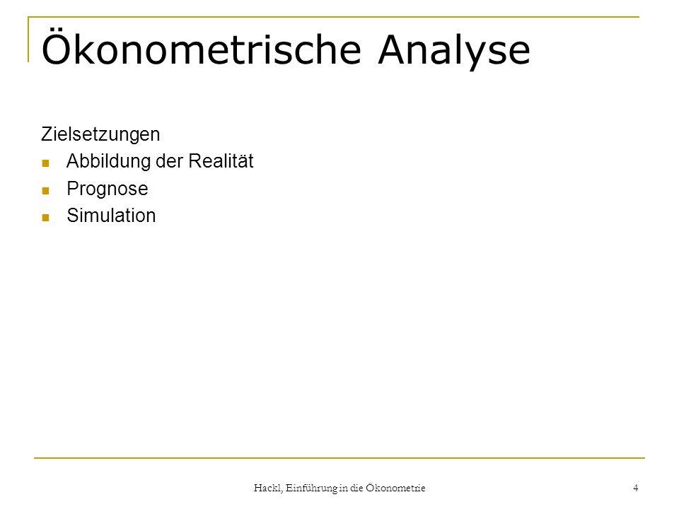 Hackl, Einführung in die Ökonometrie 4 Ökonometrische Analyse Zielsetzungen Abbildung der Realität Prognose Simulation