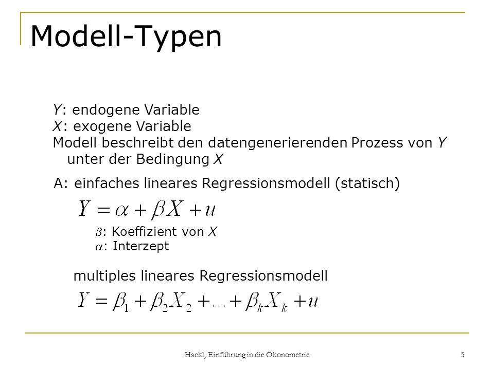 Hackl, Einführung in die Ökonometrie 5 Modell-Typen Y: endogene Variable X: exogene Variable Modell beschreibt den datengenerierenden Prozess von Y un