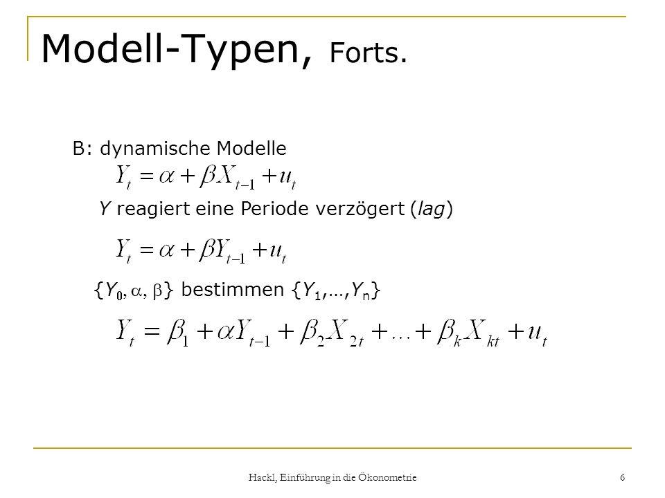 Hackl, Einführung in die Ökonometrie 6 Modell-Typen, Forts. B: dynamische Modelle {Y} bestimmen {Y 1,…,Y n } Y reagiert eine Periode verzögert (lag)