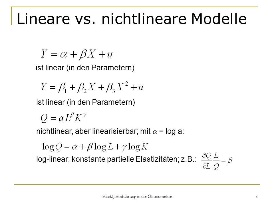 Hackl, Einführung in die Ökonometrie 8 Lineare vs. nichtlineare Modelle ist linear (in den Parametern) nichtlinear, aber linearisierbar; mit = log a: