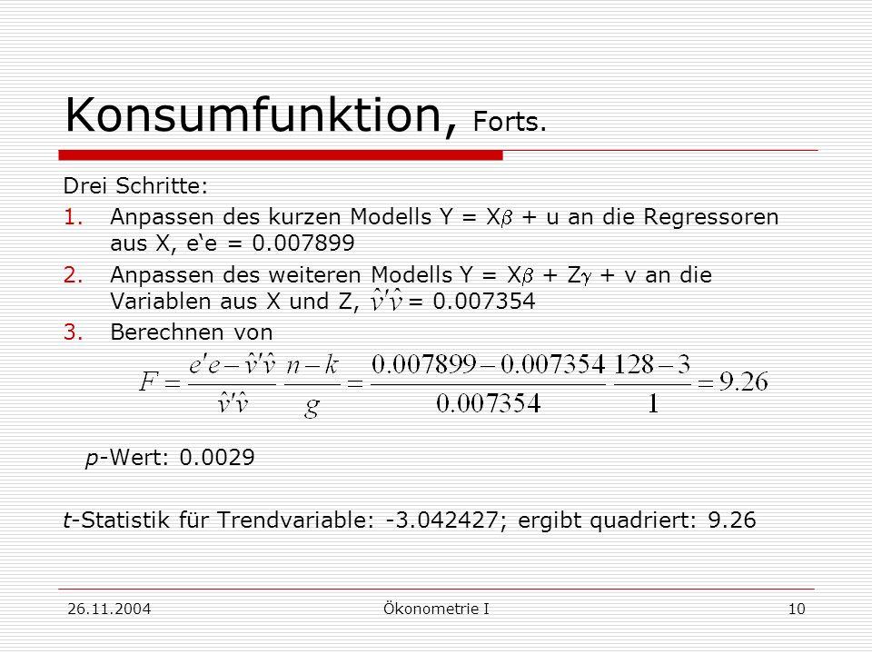 26.11.2004Ökonometrie I10 Konsumfunktion, Forts. Drei Schritte: 1.Anpassen des kurzen Modells Y = X + u an die Regressoren aus X, ee = 0.007899 2.Anpa