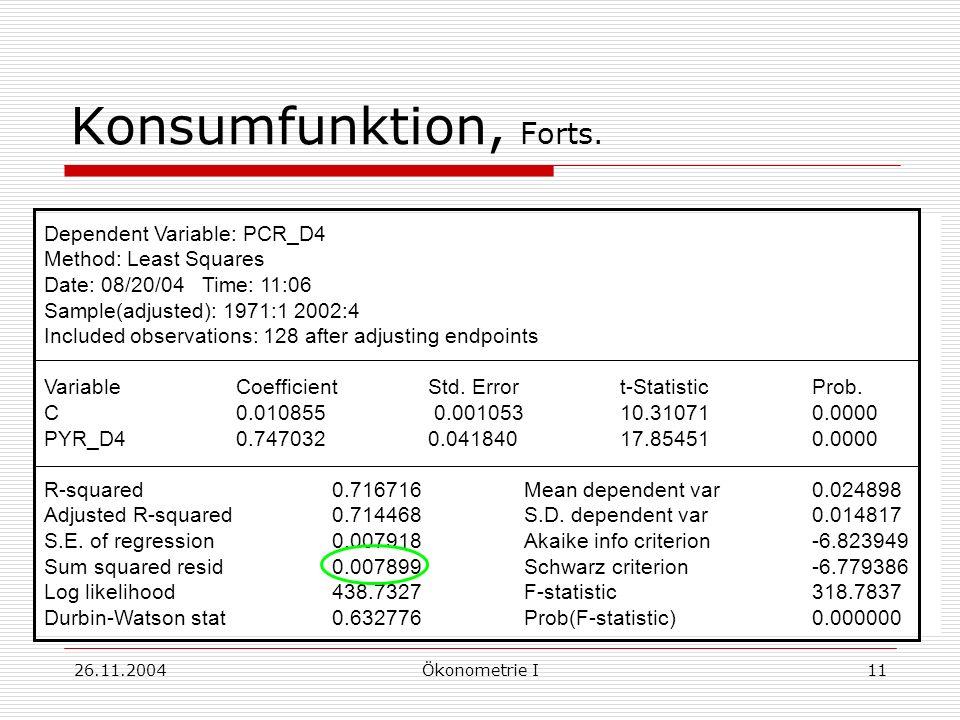 26.11.2004Ökonometrie I11 Konsumfunktion, Forts. Dependent Variable: PCR_D4 Method: Least Squares Date: 08/20/04 Time: 11:06 Sample(adjusted): 1971:1