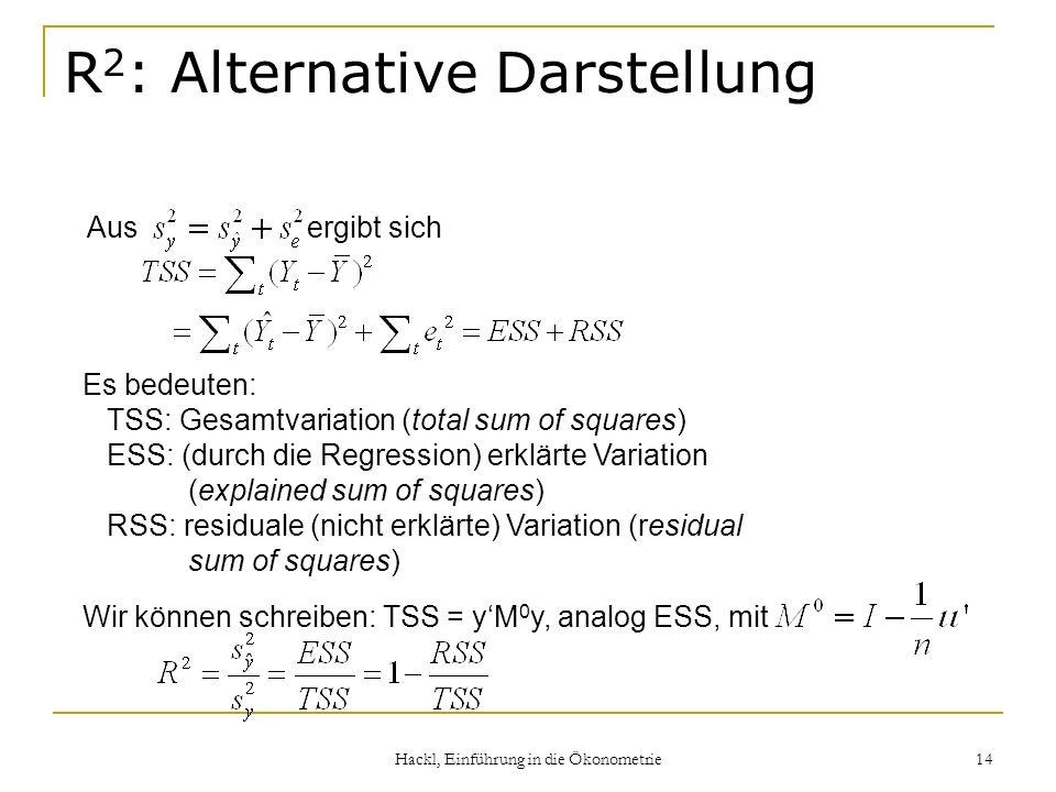 Hackl, Einführung in die Ökonometrie 14 R 2 : Alternative Darstellung Aus ergibt sich Es bedeuten: TSS: Gesamtvariation (total sum of squares) ESS: (durch die Regression) erklärte Variation (explained sum of squares) RSS: residuale (nicht erklärte) Variation (residual sum of squares) Wir können schreiben: TSS = yM 0 y, analog ESS, mit