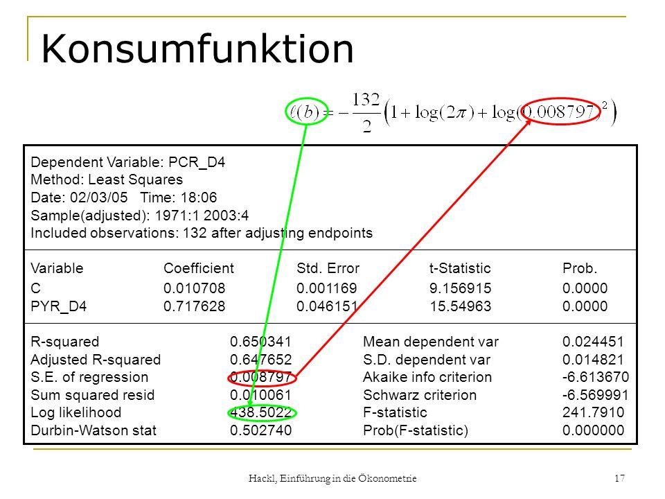Hackl, Einführung in die Ökonometrie 17 Konsumfunktion Dependent Variable: PCR_D4 Method: Least Squares Date: 02/03/05 Time: 18:06 Sample(adjusted): 1971:1 2003:4 Included observations: 132 after adjusting endpoints VariableCoefficientStd.