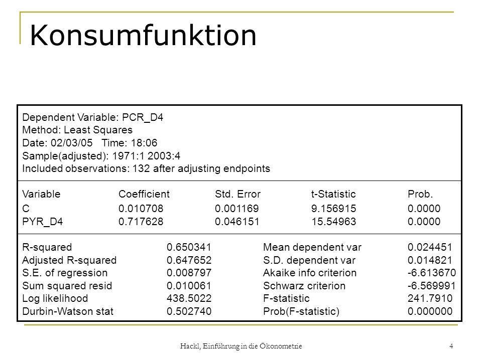 Hackl, Einführung in die Ökonometrie 4 Konsumfunktion Dependent Variable: PCR_D4 Method: Least Squares Date: 02/03/05 Time: 18:06 Sample(adjusted): 1971:1 2003:4 Included observations: 132 after adjusting endpoints VariableCoefficientStd.