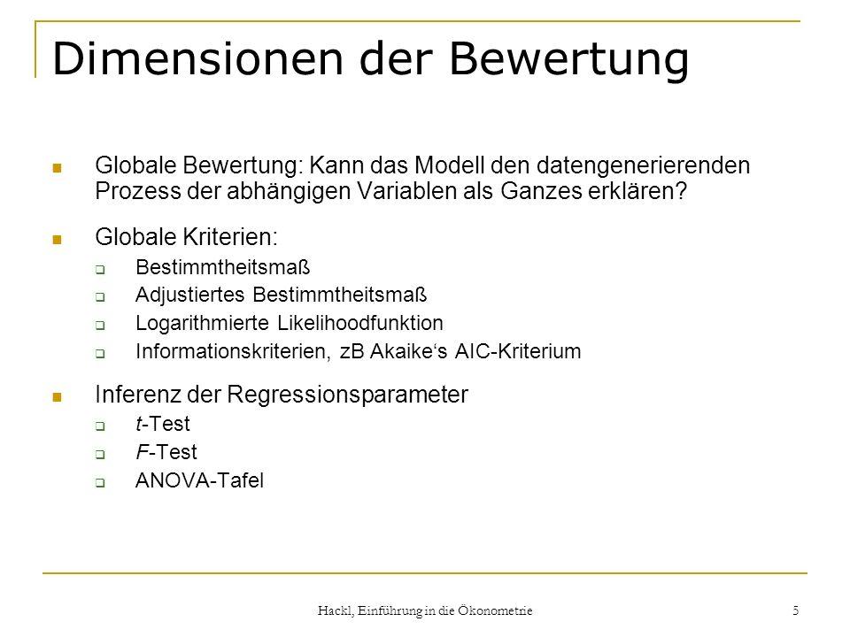 Hackl, Einführung in die Ökonometrie 5 Dimensionen der Bewertung Globale Bewertung: Kann das Modell den datengenerierenden Prozess der abhängigen Vari