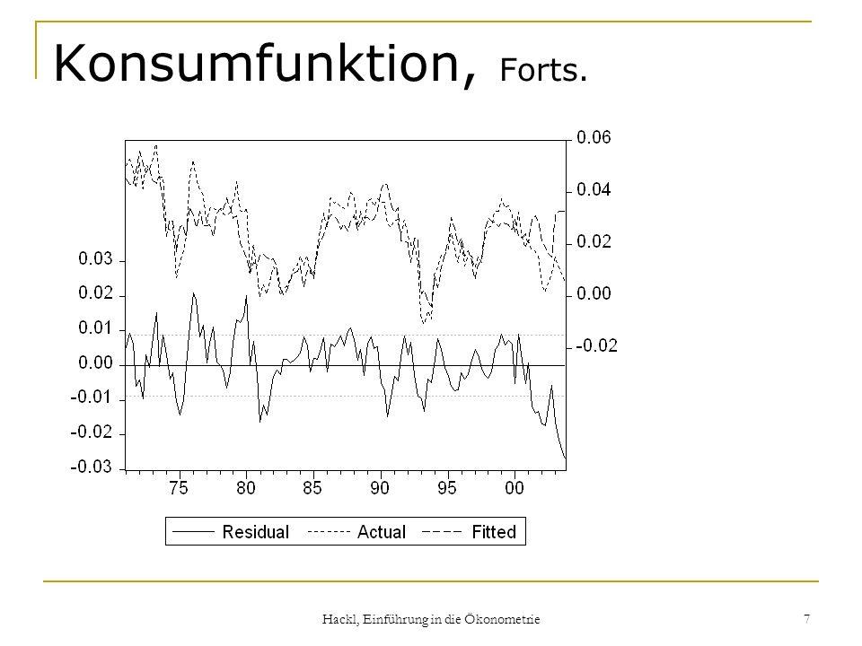 Hackl, Einführung in die Ökonometrie 7 Konsumfunktion, Forts.