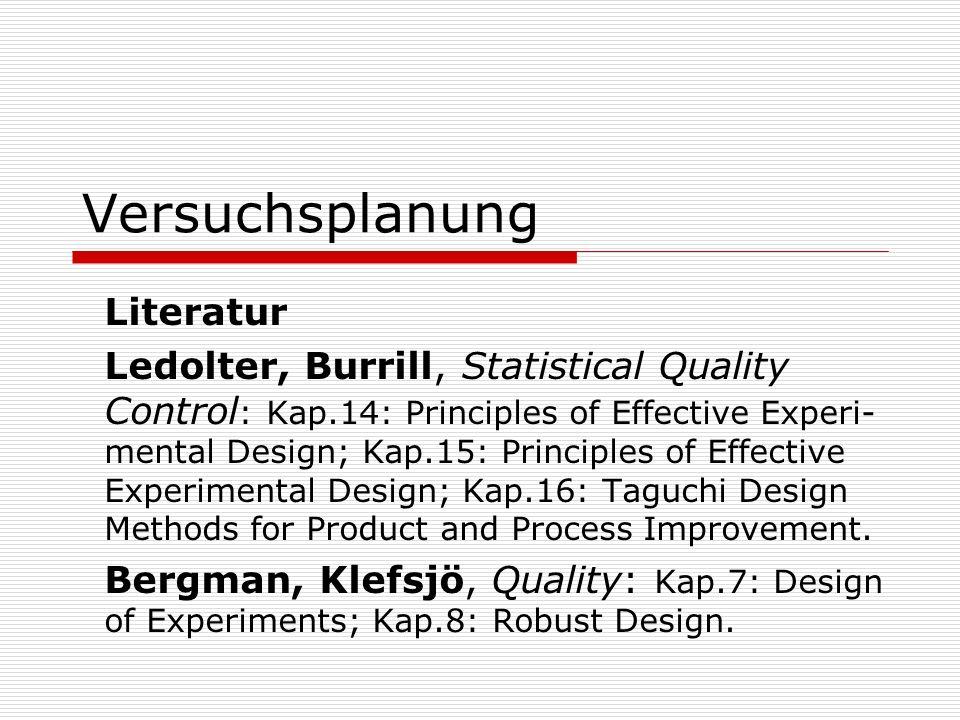 Versuchsplanung Literatur Ledolter, Burrill, Statistical Quality Control : Kap.14: Principles of Effective Experi- mental Design; Kap.15: Principles o