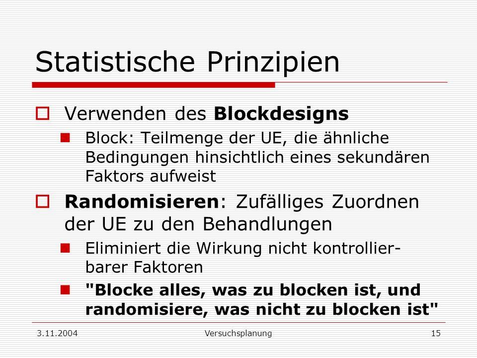 3.11.2004Versuchsplanung15 Statistische Prinzipien Verwenden des Blockdesigns Block: Teilmenge der UE, die ähnliche Bedingungen hinsichtlich eines sek