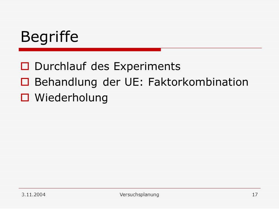 3.11.2004Versuchsplanung17 Begriffe Durchlauf des Experiments Behandlung der UE: Faktorkombination Wiederholung