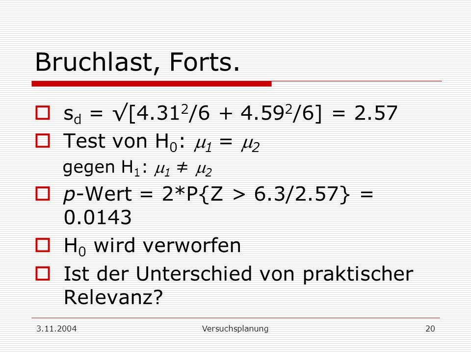 3.11.2004Versuchsplanung20 Bruchlast, Forts. s d = [4.31 2 /6 + 4.59 2 /6] = 2.57 Test von H 0 : 1 = 2 gegen H 1 : 1 2 p-Wert = 2*P{Z > 6.3/2.57} = 0.