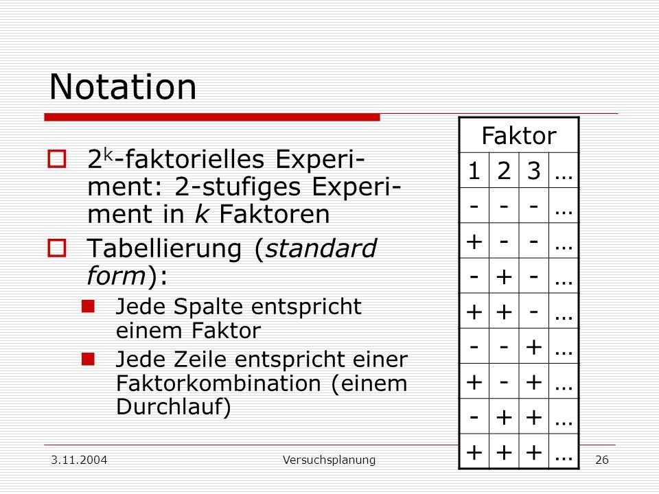 3.11.2004Versuchsplanung26 Notation 2 k -faktorielles Experi- ment: 2-stufiges Experi- ment in k Faktoren Tabellierung (standard form): Jede Spalte en