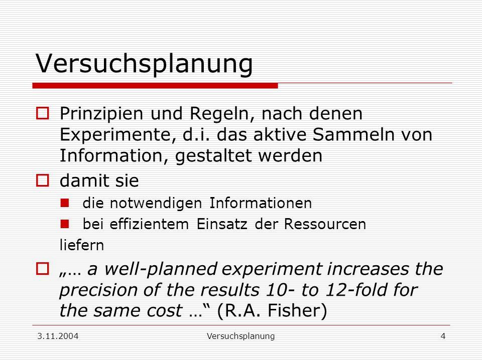3.11.2004Versuchsplanung4 Prinzipien und Regeln, nach denen Experimente, d.i. das aktive Sammeln von Information, gestaltet werden damit sie die notwe