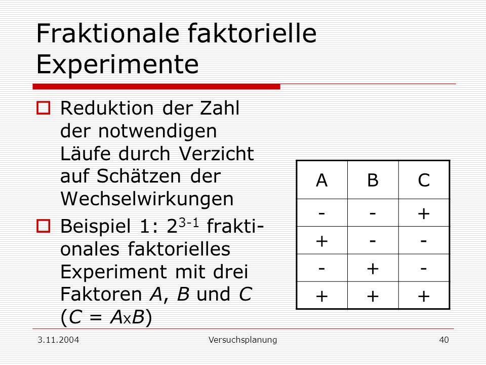 3.11.2004Versuchsplanung40 Fraktionale faktorielle Experimente Reduktion der Zahl der notwendigen Läufe durch Verzicht auf Schätzen der Wechselwirkung
