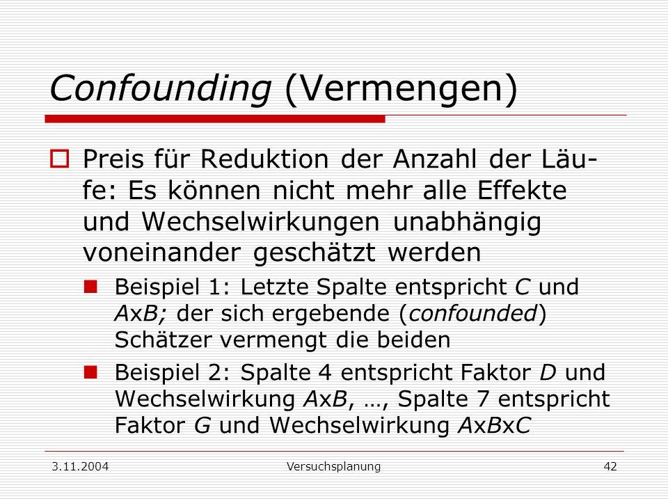 3.11.2004Versuchsplanung42 Confounding (Vermengen) Preis für Reduktion der Anzahl der Läu- fe: Es können nicht mehr alle Effekte und Wechselwirkungen