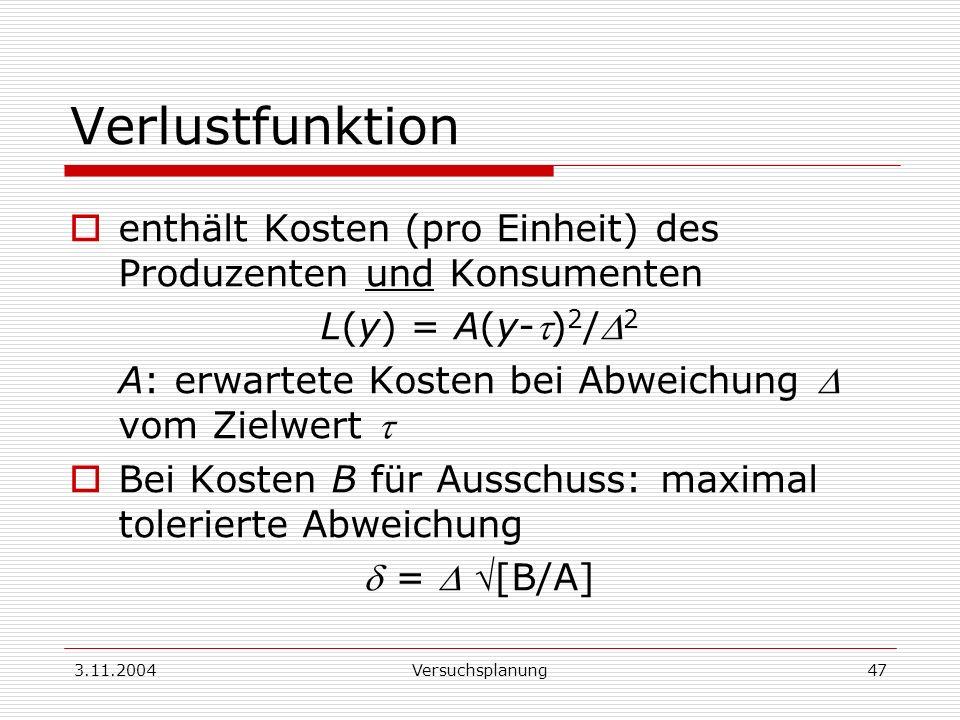 3.11.2004Versuchsplanung47 Verlustfunktion enthält Kosten (pro Einheit) des Produzenten und Konsumenten L(y) = A(y-) 2 / 2 A: erwartete Kosten bei Abw