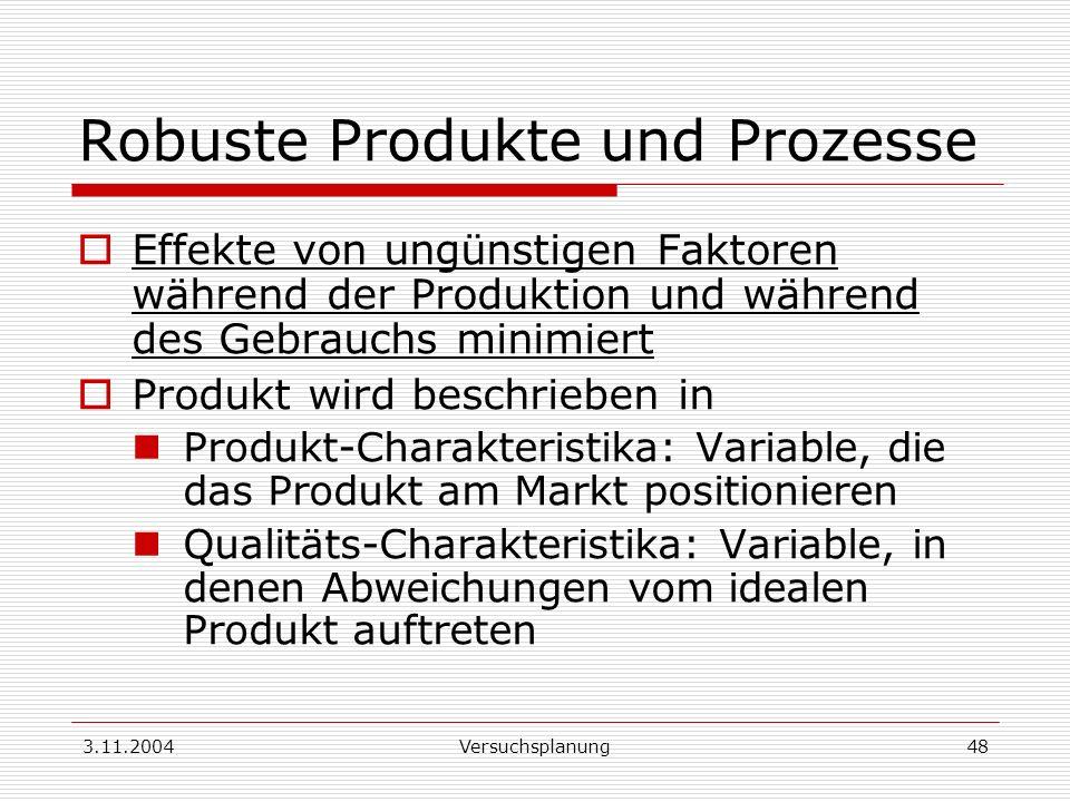 3.11.2004Versuchsplanung48 Robuste Produkte und Prozesse Effekte von ungünstigen Faktoren während der Produktion und während des Gebrauchs minimiert P