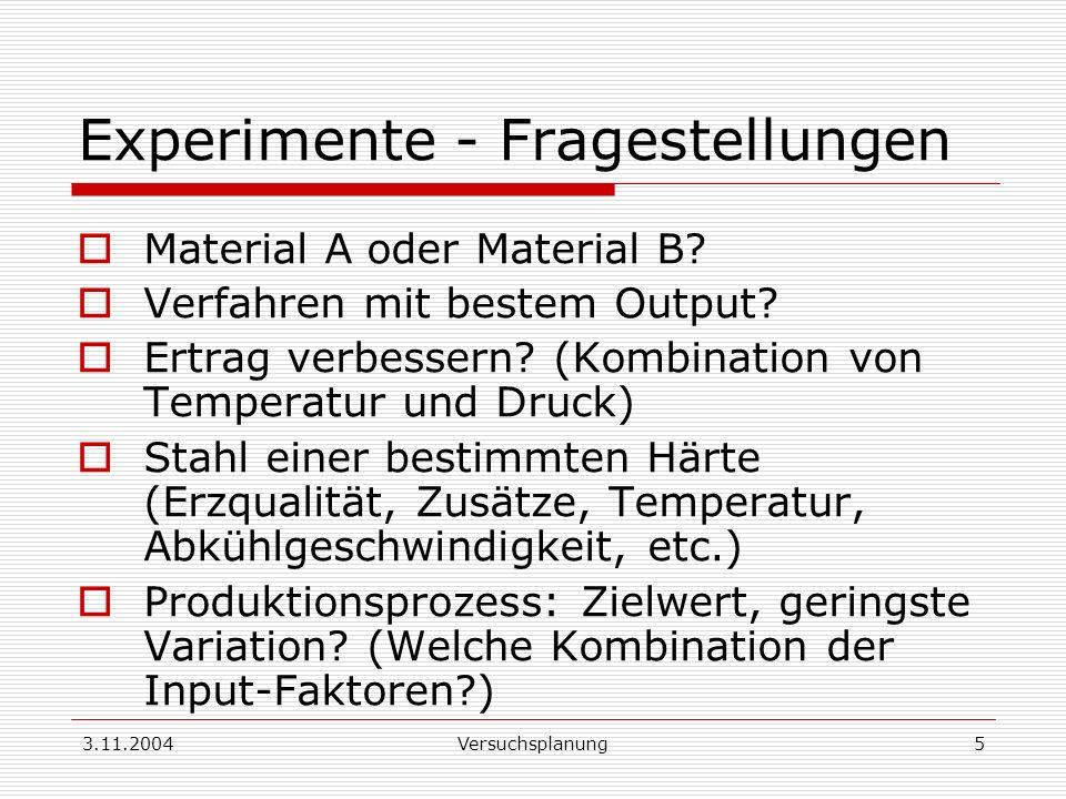 3.11.2004Versuchsplanung5 Experimente - Fragestellungen Material A oder Material B? Verfahren mit bestem Output? Ertrag verbessern? (Kombination von T